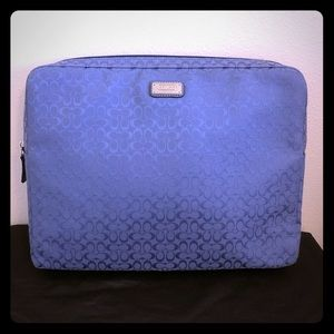 Authentic Coach Laptop Case Blue Signature